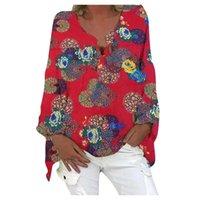 Camicette da donna Camicie Feitang Fashion Plaid Geometric Stampa V-Neck Casual Bishop Sleeve Shirt Camicia a maniche lunghe Top femminile Blusas