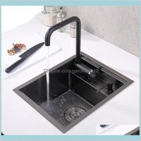 Kitchen Sinks Fixtures Building Supplies Home & Garden Black Hidden Sink Single Bowl Bar Small Size Stainless Steel Balcony Concealed