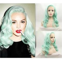 Synthetic Wigs Green Colored Lace Front Wig Long Curly Body Water Wave Side Part Frontal Glueless Hair Cosplay For Black Women