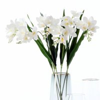 Decoratieve bloemen kransen 6 st fake bloemdecoratie 3D plastic film aanvoelen Cymbidium kunstmatige tak met blad voor bruiloft thuis arrangem