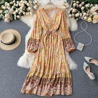 Teeueear slim vintage v percle automne floral imprimer robe longue robe femmes tombe celles Tunique élégante plage vacances décontractées