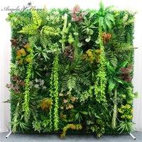 Decorative Flowers & Wreaths 40x60cm DIY Green Artificial Plant Wall Panel Plastic Outdoor Lawns Carpet Decor Wedding Backdrop Party Garden