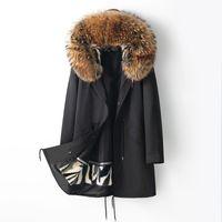 Mens Parkas Real Mink Fur Coat Winter Long Jacket Natural Raccoon Furs Collar Hood Thick Warm Parkas Man Clothes Large Size M-5XL Black Tops Overcoat Slim Fit Snow Wear