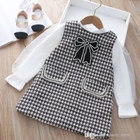 Baby Girls Princess Abbigliamento set 2021 Autunno Inverno Bambini Bubble Tulle T-shirt a maniche lunghe + Plaid Bowknot Pocket Sundress 2PCS Suits Bambini Abiti casual S1767