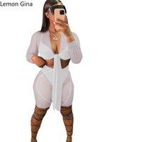 Women's Tracksuits Lemon Gina Yarn Mesh Splicing Sexy Casual Four Suits