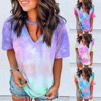 Sexy Frauen Krawattenfarbstoff Druck Hoodies Top Print Short T-Shirt Kurze Langarm T-Shir Frauen Streetwear Sommerkleidung