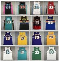 Retro Grant 33 Hill Jerseys Mike 10 Bibby Tim 21 Duncan 10 Dennis Rodman 55 Dikembe Mutombo Larry Vintage Pájaro 13 Wilt Chamberlain Stitching College Basketball Jersey