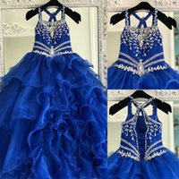 Little Miss Pageant Dress for Teens Juniors Toddlers 2021 Beading AB Stones Crystal Long Prom Gown Girl Formal Party Ruffles Lace-Up Ball-Gown Organza ritzee
