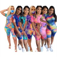 Women plus size Tracksuits 3piece set summer clothes tie-dye printing running t-shirts shorts sweatsuit tee&top capris sports suits pullover leggings fitness 01427
