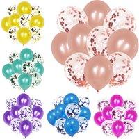 Glitter Confetti Látex Globos Romántico Decoración de la boda Baby Shower Fiesta de cumpleaños Decoración de la fiesta de cumpleaños Balloon de aire claro 10 unids / lote