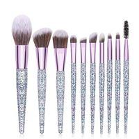 Crystal Makeup Brushes Set Eye Shadow Concealer Eyelash Foundation Face with Glitter Sequins Handle Brush Kit GWB6298