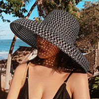 HT3072 Nuova estate Cappello Estate Donne Vintage Wide Brim Cappello Sole Femminile Dome Dome Beach Cap Lady Traspirante Paglia Cappello da donna Patchwork Beach