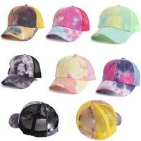 Tie Dye Ponytail Berretto da baseball Cappelli Bun Messy Cappelli per le donne Lavato in cotone Cappellini Snapback Casual Casual Estate Sun Hat DB361