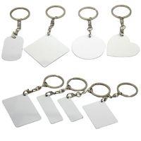 Tinte Sublimación en blanco Llavero de metal de doble cara DRIES DIY RECTANGULAR PERSONALIZADO Llaveros personalizados Llaveros de aluminio GWB9020
