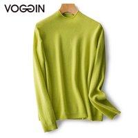 Voggin suéter sin fisuras de lana pura estilo básico jerseys mujeres medio cuello natural Hemming High Tech Punto transparente 2020AW