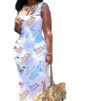 Abiti da ballo Plus Size Abbigliamento donna Abbigliamento senza maniche Abbigliamento senza maniche Vestito lungo Sexy Primavera E Summer Express Stampato Boutique G47Dzie