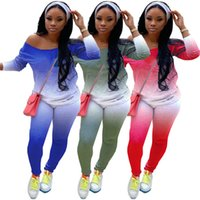 Women tie dye Two piece sets sports Tracksuits fall winter clothing casual outfits letter print one shoulder shirts+leggings 6011