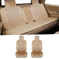 Car Seat Covers KANGLIDA Cushion Full Set Hand-woven Ice Silk Front Rear Cover Universal CushionGray Beige Gold