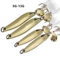 10pcs lot 5 7 10 13G Gold Spoons Metal Baits & Lures Fishing Hooks 8 6 4# Hook WAN_301