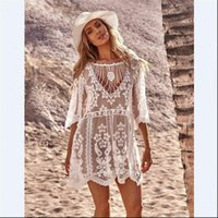 White Lace Summer Beachwear Swimwear Womens Dresses Tassel Bikini Cover Up Sarong Beach Vestidos