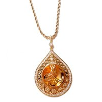 Турецкое ожерелье Тугру Zircon роскошные кулон цепи из нержавеющей стали золото цвет золота покрытый тюльпан мусульманские османские мотив ожерелья
