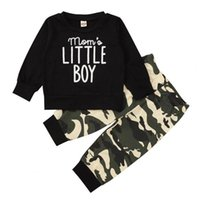 Clothing Sets Long Sleeve Black Letters Printed Top T-shirt Camouflage Pants Baby Boys Clothes