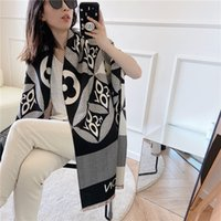 Nueva dama bufanda imitación cachemira cepillado azotea borlas europeas y americanas letras populares largas y gruesas chal caliente