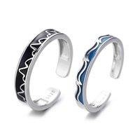 Cluster Ringe 925 Sterling Silber Ring Romantisches Paar Für Frauen Männer Bergwasser Welle Liebhaber Fine Schmuck Hochzeit Koreanisch