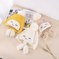 Smiling girl Plush hat autumn winter children's Korean version lovely wool ball hat tether fashion cute baby equipment gift