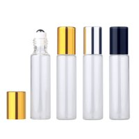 50pieces lot 10ml Essential Oil Bottle Glass Roll on Perfume Bottle For Essential Oils Empty Cosmetic Case With roller bottles