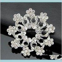 Pins Broşlar Takı Yüksek Kalite Köpüklü Temizle Kristaller Büyük Kar Tanesi Düğün Gelin Broş Bayan Lüks Kadınlar Için Nefis Hediye B
