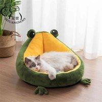 Shuangmao pet القط الكلب السرير البيت للقطط داخلي الدافئة الضفدع كلب صغير النوم حصيرة هريرة بيت الكلب لطيف عش اللوازم الناعمة 210827
