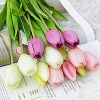 Guirnaldas de flores decorativas 5 unids / manojo táctil real tulipanes artificiales de rosa casero decoración de boda bouquet de alta calidad de lujo silicón falso