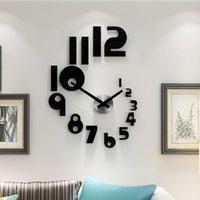 벽시계 2021 DIY 큰 시계 현대적인 디자인 침묵의 쿼츠 시계 스티커 3D 거실 홈 장식 아크릴 Horloge