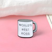 보스 머그잔 핀 최고의 보스에 나 멜 핀 커피 컵 옷깃 핀 브로치 남자 여자 보스의 날 선물 8 W2