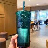 The latest 18.6OZ Starbucks glass straw coffee mug, dark green mermaid goddess style straws water cup, packed in a separate box