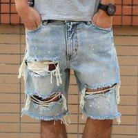 2020 Высококачественные шорты мужские джинсовые джинсы мужские мужественные брюки летом мужской хип-хоп нищий молния шорты уличные1