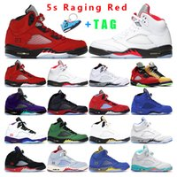 mens basketball shoes 5s jumpman 5 Raging Red Hyper Royal Wh...