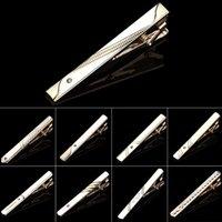 Nuevos clips de corbata corbata de metal para hombre Bar Crystal Vestido formal Camisa Ceremonia de boda Clip de corbata de oro 59 W2