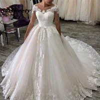 Scoops Ball Gown Wedding Dresses Luxury Applique Court Train Short Sleeves Saudi Arabia Bride Dress