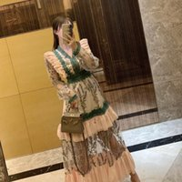 Günlük Elbiseler Barok Lüks Tasarım Ruffles Örgü Çiçek Nakış Puf Kol Uzun Elbise Bahar Robe Longue Vintage Parti Vestido Fiesta L