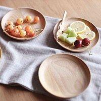 둥근 단단한 나무 팬 플레이트 과일 요리 접시 차 트레이 빵 디저트 나무 디너 플레이트 식기류 12.5cm 15cm 18cm 20cm DBC BH4459