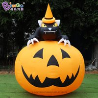 Exquisite squash with black cat inflatable Halloween pumpkin adornment for commercial toy sports