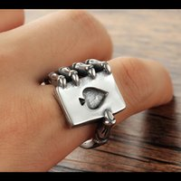 Vintage Stainless Steel Men Ring Gothic Punk Skull Claw Poker Index Finger Rings Playing Card Nightclub Male Fashion Jewelry