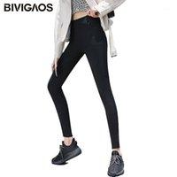 Bivigaos Kırmızı Konu Cep Siyah Kot Tayt Kadınlar Yüksek Bel Elastik Sıska Ince Kalem Pantolon Bahar Sonbahar Jeggings1