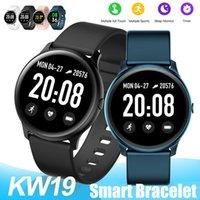KW19 Akıllı Watch Band Kadınlar Kalp Hızı Monitörü Su Geçirmez Bileklikler Erkekler Spor Android Telefonlar için Spor Izci Saatler