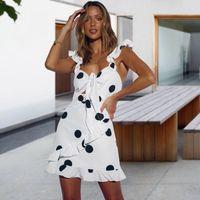 Casual Dresses Polka Dot Print Strap Dress Women Bandage Sleeveless Sexy Beach Yellow L-Line Summer Mini Backless Ruffle Ladies
