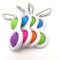 Push Pop Bubble Keychain Type Toy Sensory Sensory Fidget Party Semplice Dimple Chiave Anello 2 Palle Borsa Pendenti Stress Sollievo Anti Ansia Anti-Ansia Autismo per bambini Adulto Adulto