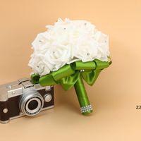 Bridal Свадебный букет Пена искусственная ручная работа Цветочный Подарок Искусственные Цветы Ручной Букет Роза Невеста Свадебные принадлежности HWD7327