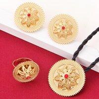 Orecchini Collana Etnica Etnica Set di gioielli Etiope Set Pendente ANELLO 24K Gold Color Eritrea Habesha Matrimonio Africano